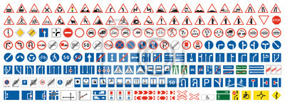 Fototapete Highway warning, priority, prohibitory signs collection. Set of more than two hundred road signs.