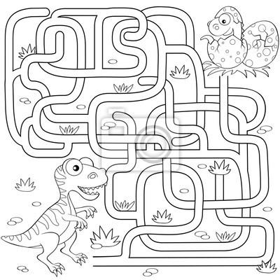 Hilf dem dinosaurier, den weg zum nest zu finden. labyrinth ...