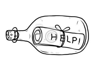 Fototapete Hilfemeldung in Glasflasche