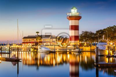 Fototapete Hilton Head, South Carolina, USA Leuchtturm in der Dämmerung