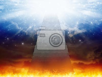 Himmel und Hölle, Treppe zum Himmel, Licht der Hoffnung vom blauen Himmel