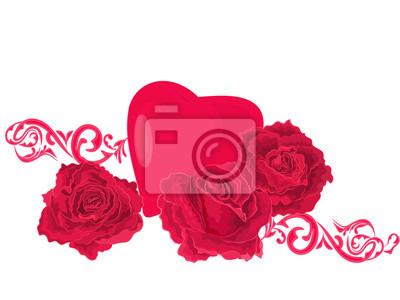 Hintergrund der Rosen und Herzen-Ornamente