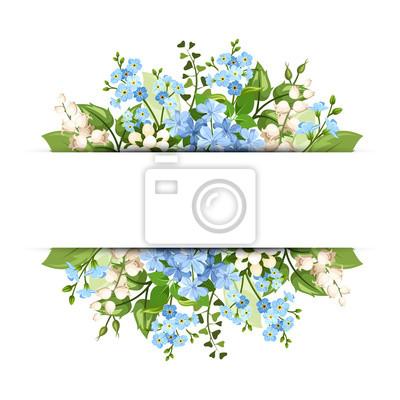 Hintergrund mit blauen und weißen blumen. vektor-eps-10. fototapete ...