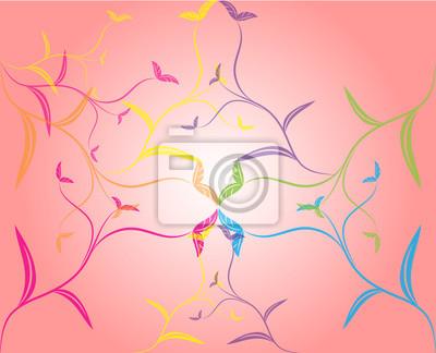 Hintergrund mit blühenden Baum auf rosa Hintergrund