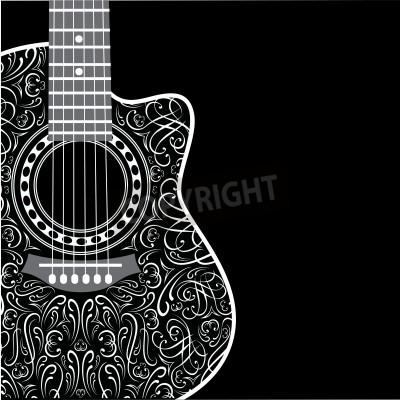 Fototapete Hintergrund mit Clipping-Gitarre und stilvolle Ornament