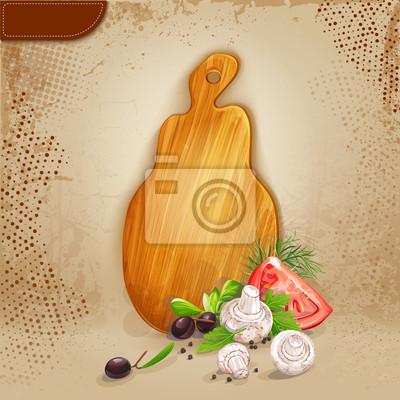 Hintergrund mit einem Holzbrett und frischem Gemüse.