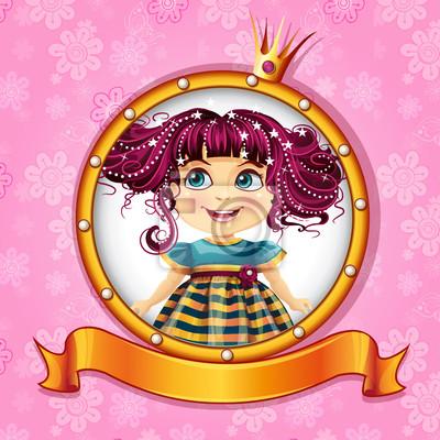 Hintergrund mit einer kleinen Prinzessin mit rosa Haaren.