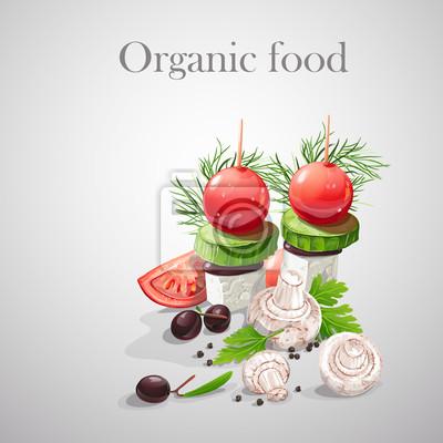 Hintergrund mit frischem Gemüse, Tomaten, Champignons, Oliven