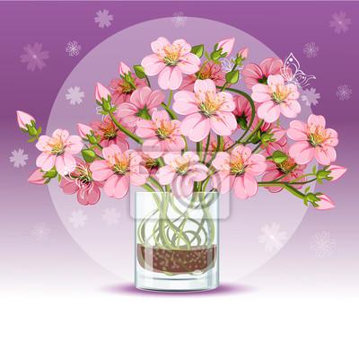 Hintergrund mit Kirschblüten in einem Glas