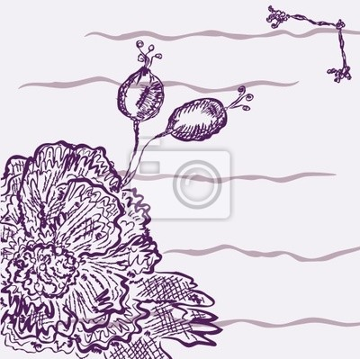 Hintergrund mit rosa Blume und Beeren