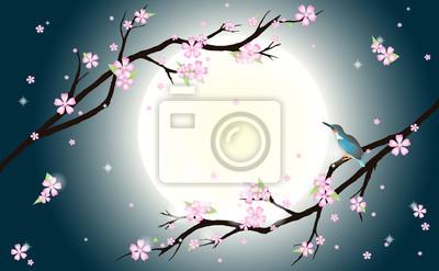 Hintergrund mit stilisierten Kirschblüten und Vogel.