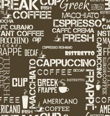 Fototapete Hintergrund nahtlose Fliese Kaffee Worte und Symbole