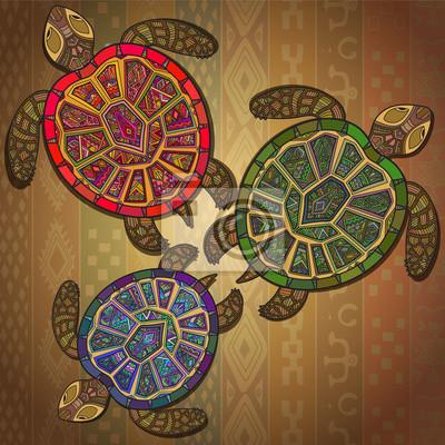 Hintergrundmuster mit drei Schildkröten.