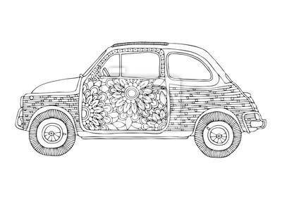 Hippie-auto. kleines süßes auto mit blumen. hand gezeichnete ...