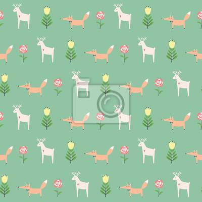 Fototapete Hirsch mit Fuchs und Frühlingsblumen nahtlose Muster auf grünem Hintergrund. Nette Karikatur Natur Hintergrund. Kind Zeichnung Stil Tier Illustration. Frühlingsentwurf für Textil-, Tapeten-, Stoff-