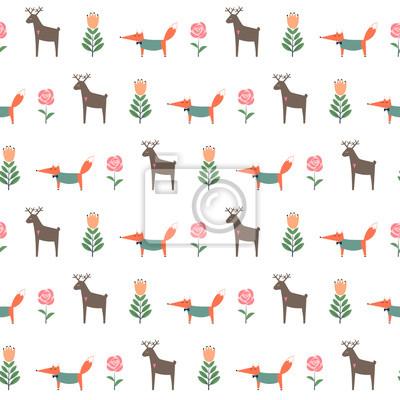 Fototapete Hirsch mit Fuchs und Frühlingsblumen nahtlose Muster. Nette Karikatur Natur Hintergrund. Kind Zeichnung Stil Tier Illustration. Frühlingsentwurf für Textil-, Tapeten-, Stoff-
