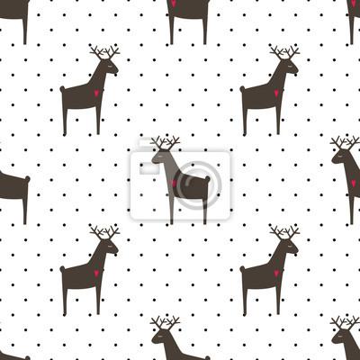 Fototapete Hirsch mit Herzen nahtlose Muster auf Polka Dots Hintergrund. Cartoon Tier Hintergrund. Kind Zeichnung Stil Tier Illustration. Netter Entwurf für Gewebe, Tapete, Gewebe.