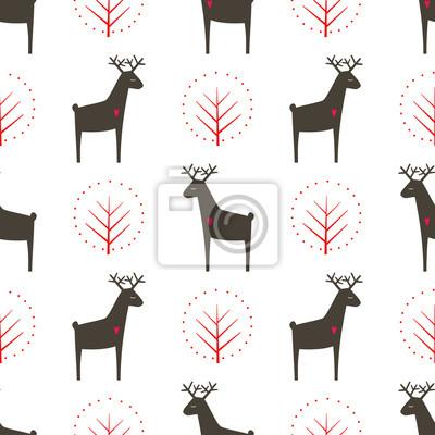 Fototapete Hirsche mit Baum nahtlose Muster. Netter Karikaturnaturhintergrund. Kind Zeichnung Stil Tier Illustration. Herbst Design für Textilien, Tapeten, Stoff.