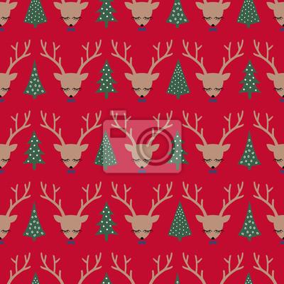 Fototapete Hirsche und Weihnachten Bäume nahtlose Muster auf rotem Hintergrund. Weihnachten Hirsch Kopf Silhouette Hintergrund. Winter Urlaub Vektor-Illustration, Karte. Design für Textilien, Tapeten, Gewebe, St