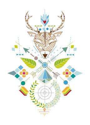 Fototapete Hirschjagd - Grafisches Muster mit Hirschkopf, Zielscheibe, Pfeile, Blätter und Blüten