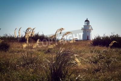 Fototapete Historische Leuchtturm am Waipapa Point, Catlins, Neuseeland. Weinlese-Filter