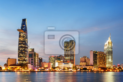 Fototapete Ho-Chi-Minh-Stadt Skyline bei Sonnenuntergang. Szenisches Stadtbild
