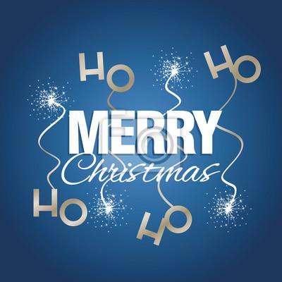 Ho Ho Ho Frohe Weihnachten.Fototapete Ho Ho Ho Frohe Weihnachten Funke Feuerwerk Blau Vektor