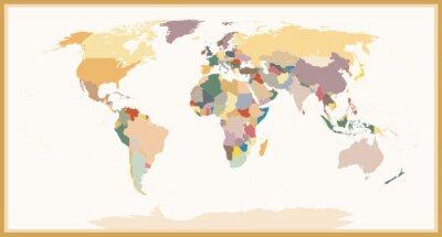 Fototapete Hoch detaillierte blinde politische Weltkarte Vintage Farben