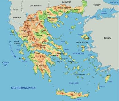 Thessaloniki Karte.Fototapete Hoch Detaillierte Griechenland Physische Karte Mit Etikettierung