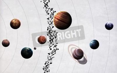Fototapete Hochauflösende Bilder präsentieren Planeten des Sonnensystems.