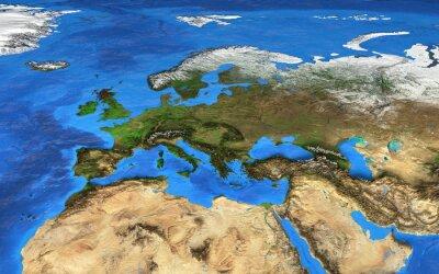 Fototapete Hochauflösende Weltkarte konzentrierte sich auf Europa