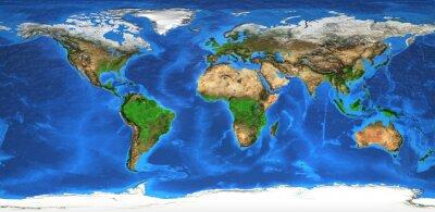 Fototapete Hochauflösende Weltkarte und Landforms