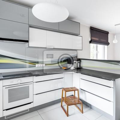 Hochglanz weiße küche fototapete • fototapeten Arbeitsplatte ...