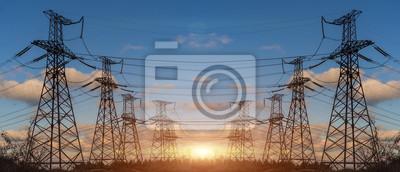 Fototapete Hochspannung Elektrischer Sendeturm Energiemaste.