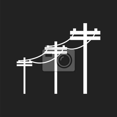 Hochspannungsleitungen. elektrische pol vektor-symbol auf schwarzem ...