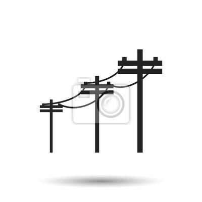 Hochspannungsleitungen. elektrische pol vektor-symbol auf weißem ...