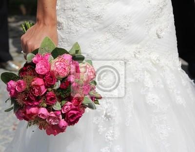 Hochzeit Blumenstrauss Rote Rose Weiss Grun Fototapete Fototapeten