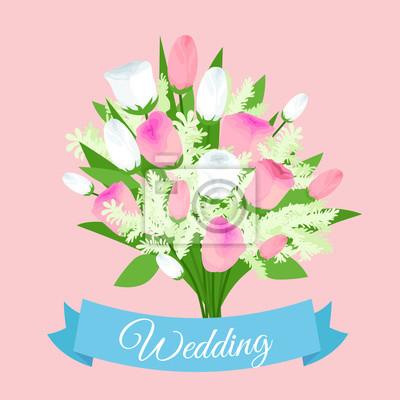 Hochzeit Bouquet Blumen Vektor Illustration Fototapete