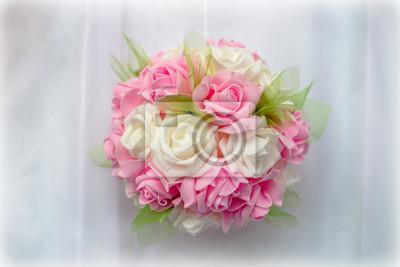 Hochzeit Dekoration In Weiss Und Rosa Auf Weissem Hintergrund