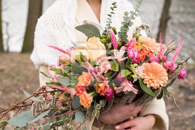 Hochzeit Details Nahaufnahme Der Weiblichen Handen Halten Braut
