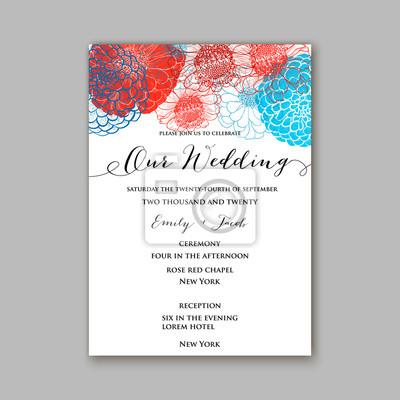 Fototapete Hochzeit Einladung Mit Schönen Blumen Zinnia Chrysantheme