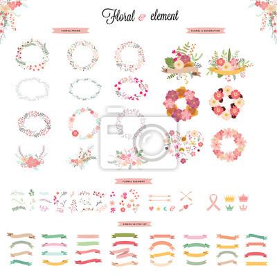 Fototapete Hochzeit Elemente Sammlung. Hand Gezeichnet Floral Set Mit  Frames. Blumen, Blätter Und