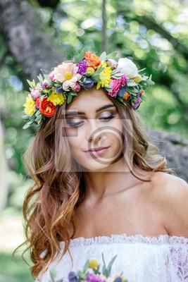 Hochzeit Frisur Braut Mit Blumen Kranz Braut Veranstaltung