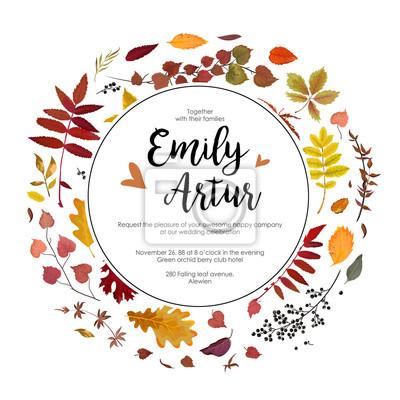 Hochzeit Herbst Herbst Einladung Einladung Blumen Aquarell Karte
