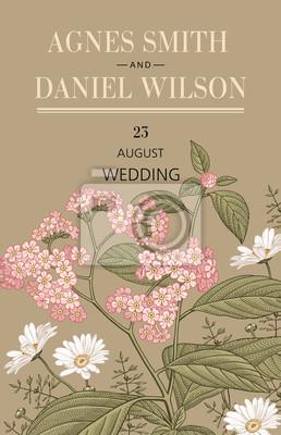 Hochzeit Hochzeitseinladung Schone Bluhende Blumen Vintage Karte