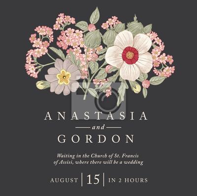 Hochzeit Hochzeitseinladung Schone Blumen Vintage Karte Rahmen
