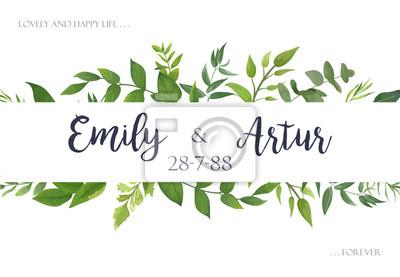 Fototapete Hochzeit Laden, Einladung Ein, Speichern Die Datumskarte Entwurf  Mit Grün Verlässt Grüngrün