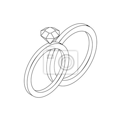Hochzeit Ringe Symbol Isometrische 3d Stil Fototapete Fototapeten