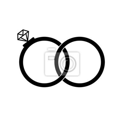 Hochzeit Ringe Zeichen Symbol Verlobungszeichen Flaches Design