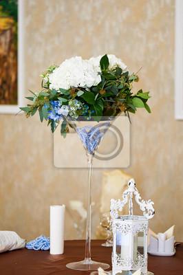 Hochzeit Tischdekoration Blumen Hydrangea Blaue Perlen Langes